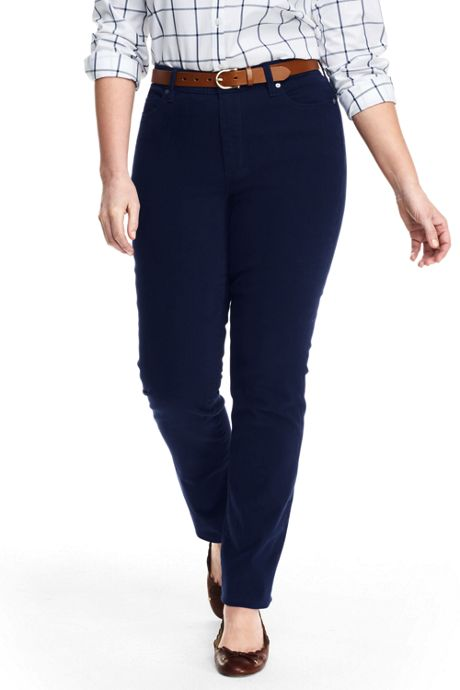 Women's Plus Size Mid Rise 5 Pocket Sateen Straight Leg Pants