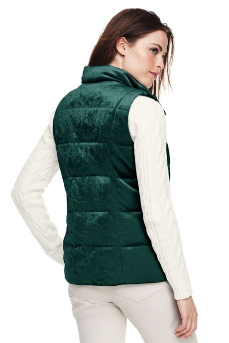 Women's Petite Velvet Puffer Vest