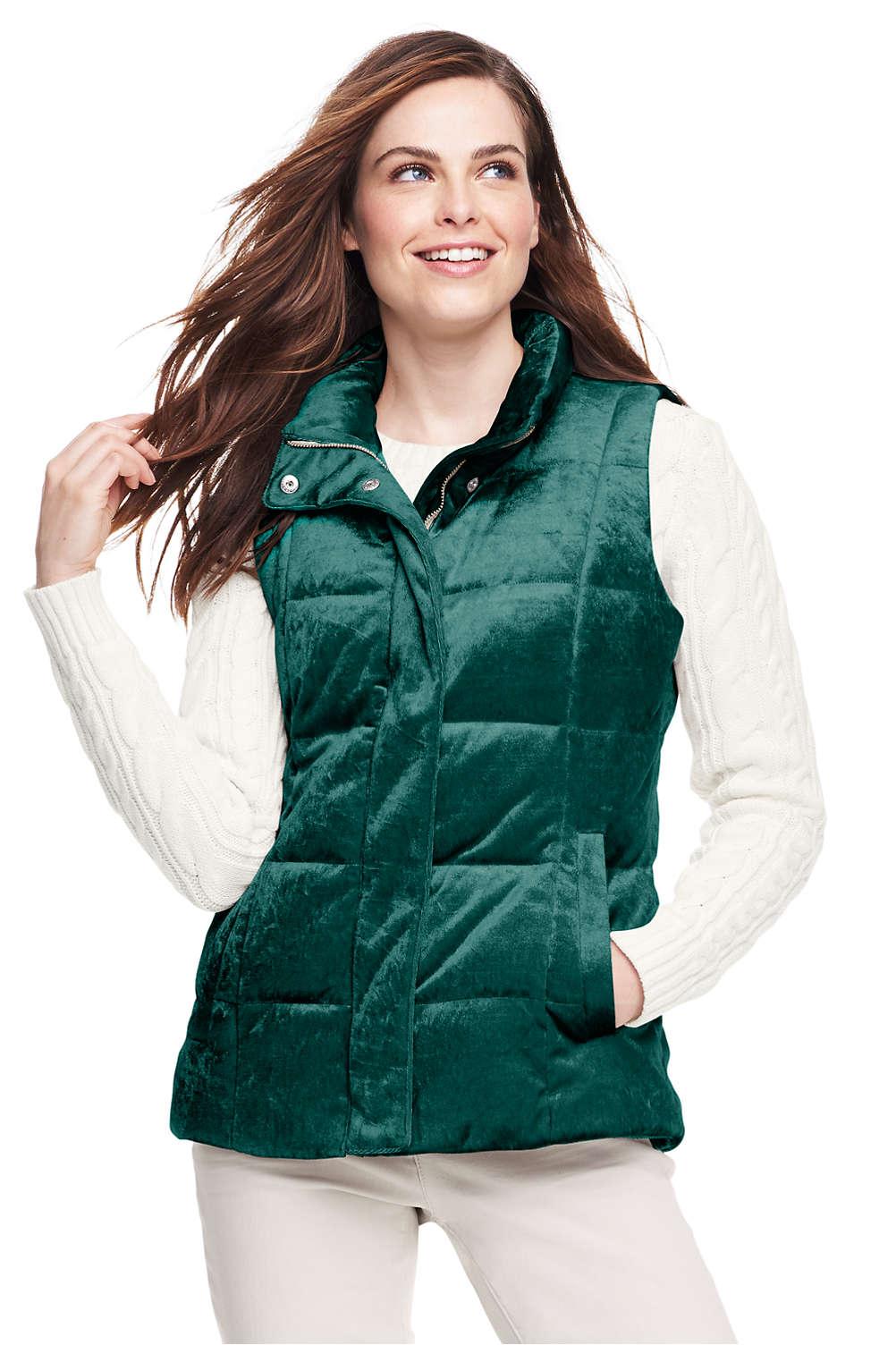 36584de1cb70 Women's Velvet Puffer Vest from Lands' End