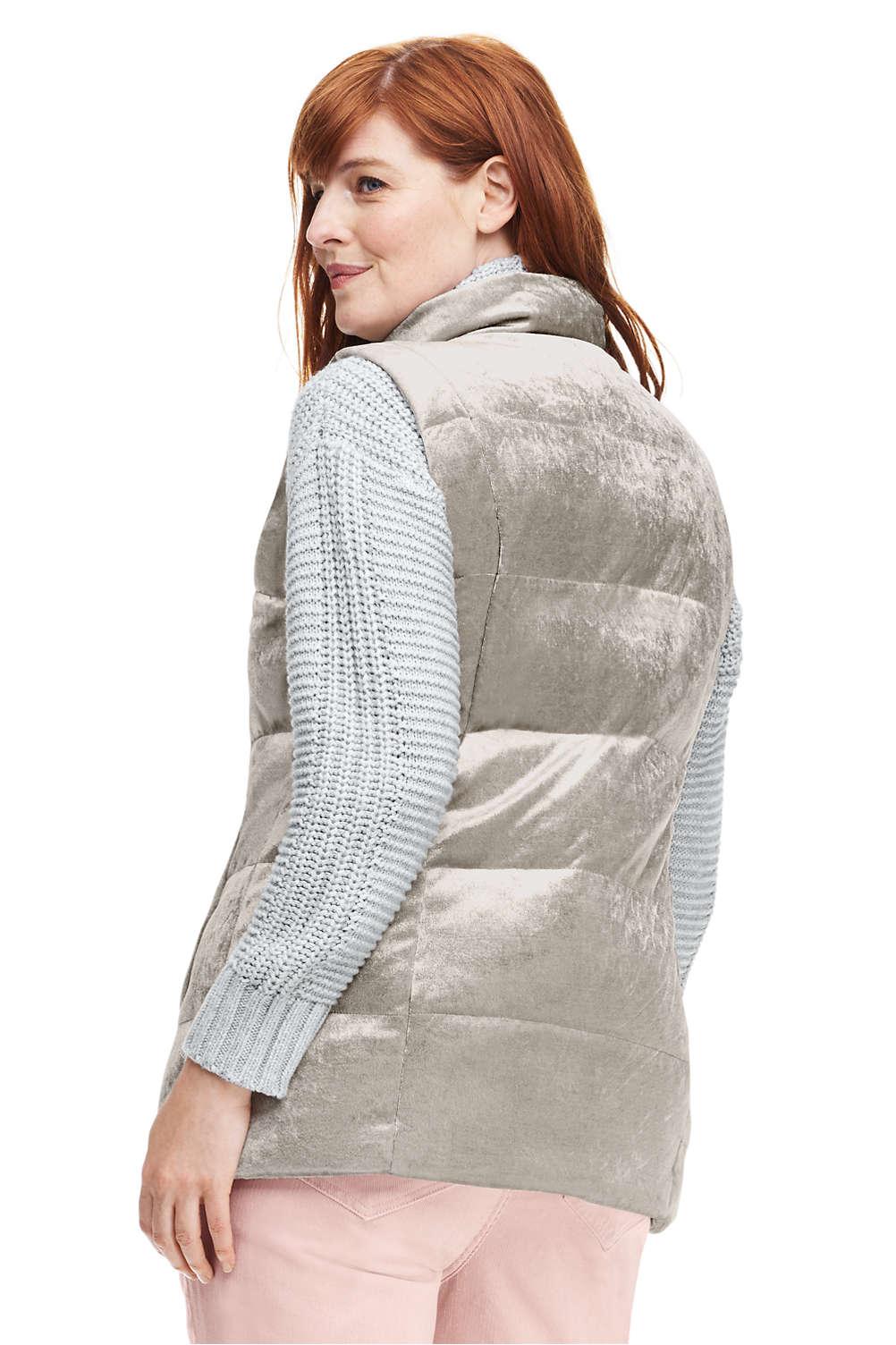 7ca293ff474 Women s Plus Size Velvet Puffer Vest from Lands  End