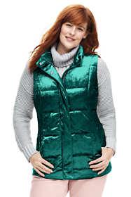 Women's Plus Size Velvet Puffer Vest