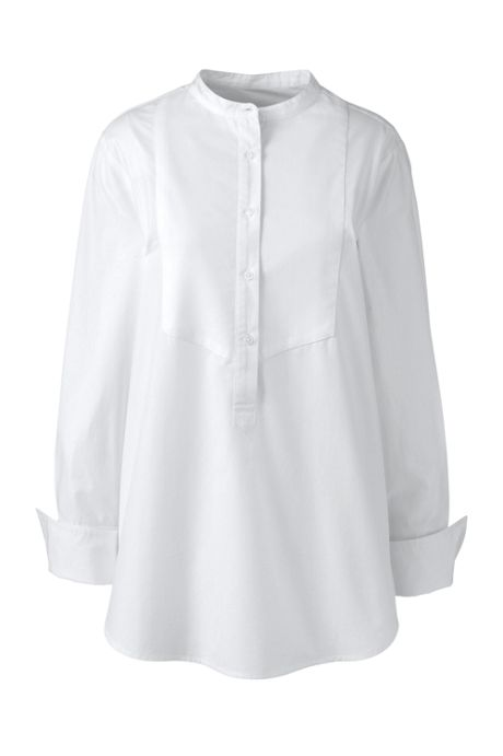 Women's Poplin Bib-front Tunic Top