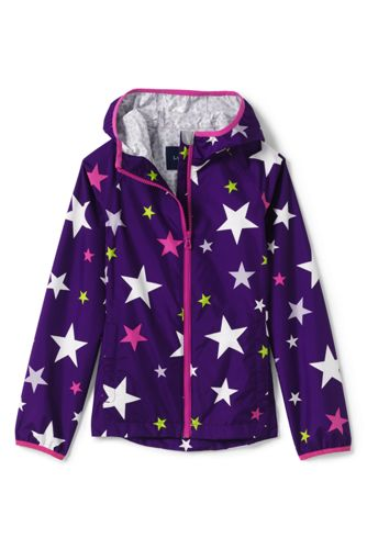 Little Girls' Printed Waterproof Breakwater Rain Jacket