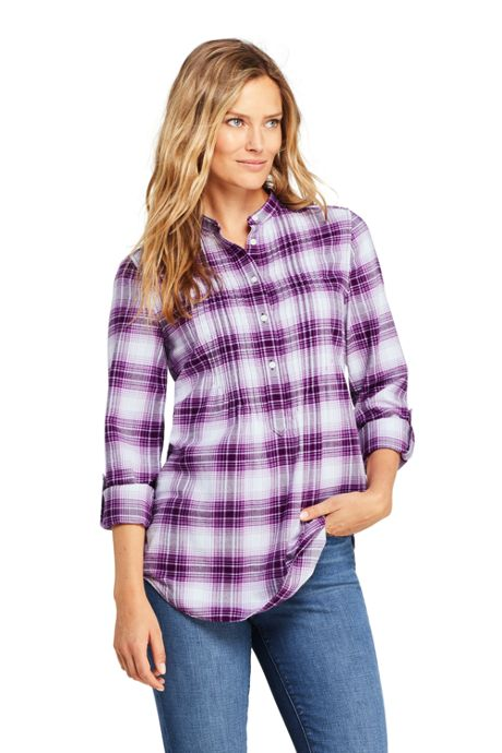 Women's Petite Flannel Tunic Top
