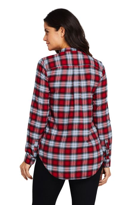 Women's Flannel Pleated Tunic Top