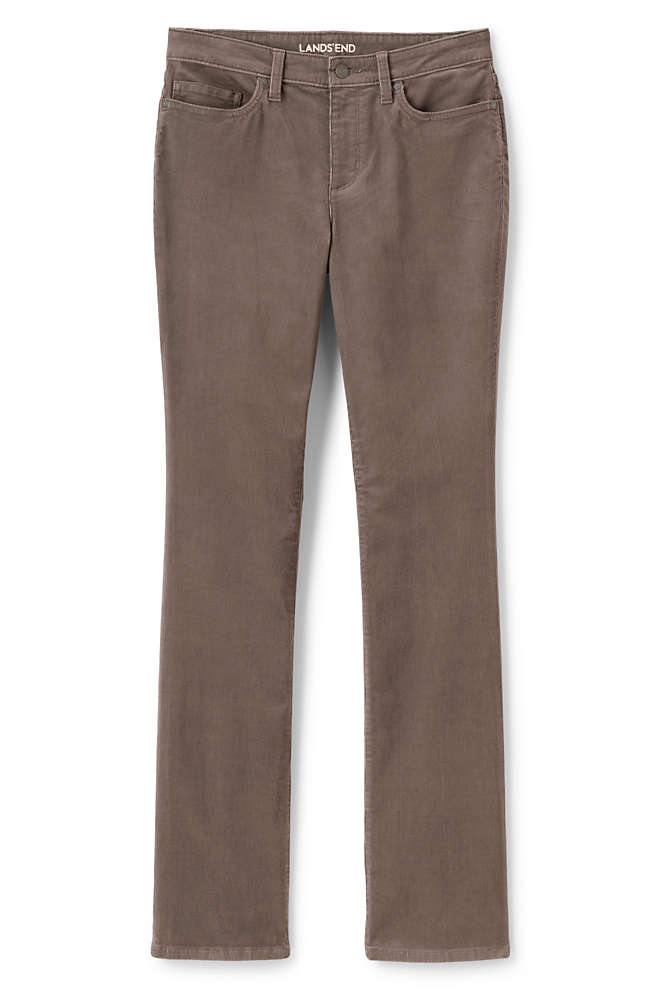 Women's Plus Size Mid Rise Corduroy Demi Boot Pants, Front