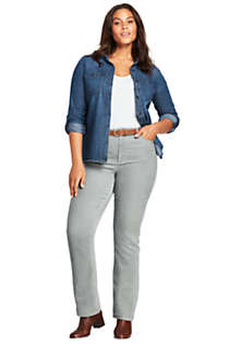 Women's Plus Size Mid Rise Corduroy Demi Boot Pants, Unknown