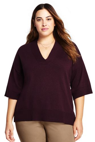 Women's Plus Size Cotton-Cashmere V-neck Sweater from Lands' End