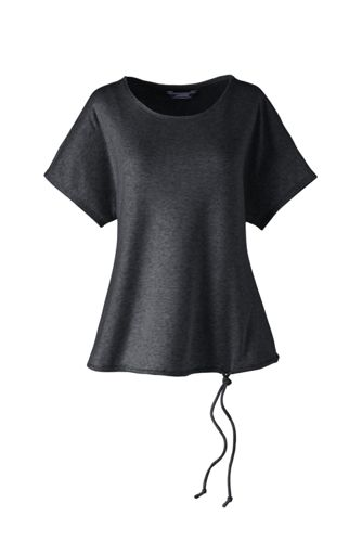 Women's Soft Leisure Brushed Rib Drawstring Waist Top