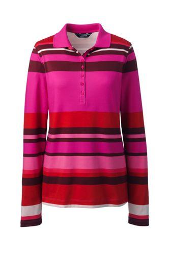 Le Polo en Coton Pima Imprimé à Manches Longues, Femme Stature Standard