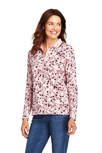 Gemustertes Pima-Poloshirt Langarm für Damen