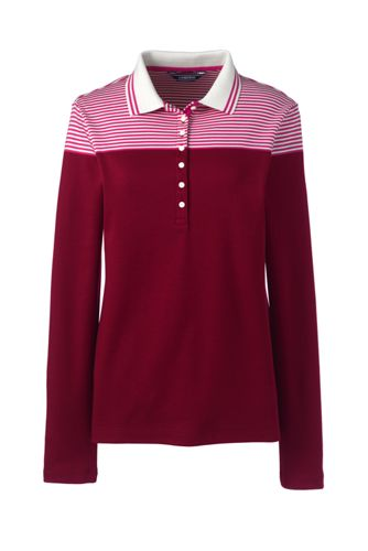 Women's Long Sleeve Striped Colourblock Pima Polo