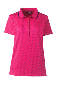 Women's Short Sleeve Dot Print Pima Polo