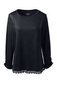 Women's Plus Supima Micro Modal Lace Hem Tee