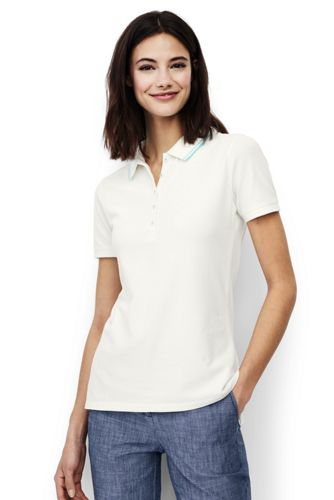 Women's Short Sleeve Tipped Collar Pique Polo