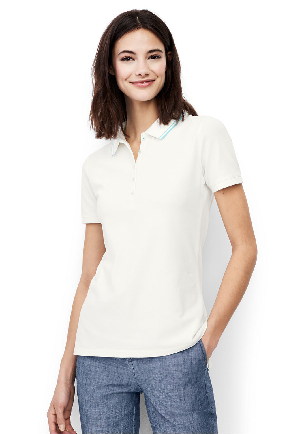 women s short sleeve mesh polo shirt from lands end
