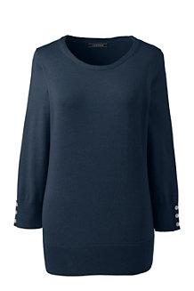 レディス・スーピマ・ファインゲージ・オープンクルーネック・セーター/無地/七分袖
