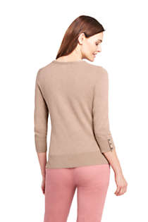 Women's Petite Supima Cotton 3/4 Sleeve Sweater, Back