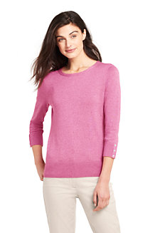 Le Pull Fines Mailles Manches 3/4 avec Boutons, Femme