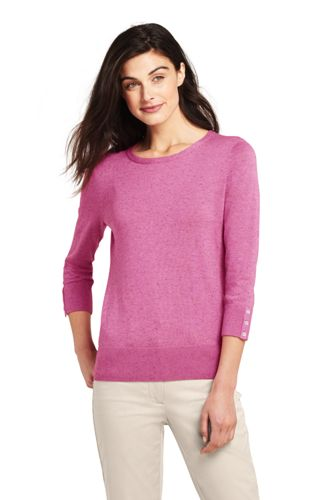 Le Pull Fines Mailles Manches 3/4 avec Boutons, Femme Stature Standard