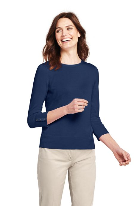 Women's Petite Supima Cotton 3/4 Sleeve Sweater