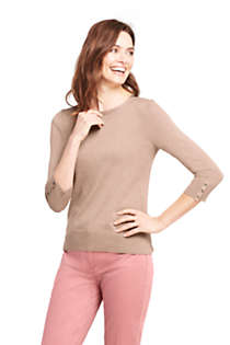 Women's Petite Supima Cotton 3/4 Sleeve Sweater, Front