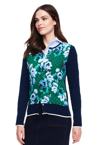 Women's Fine Gauge Supima Patterned Cardigan