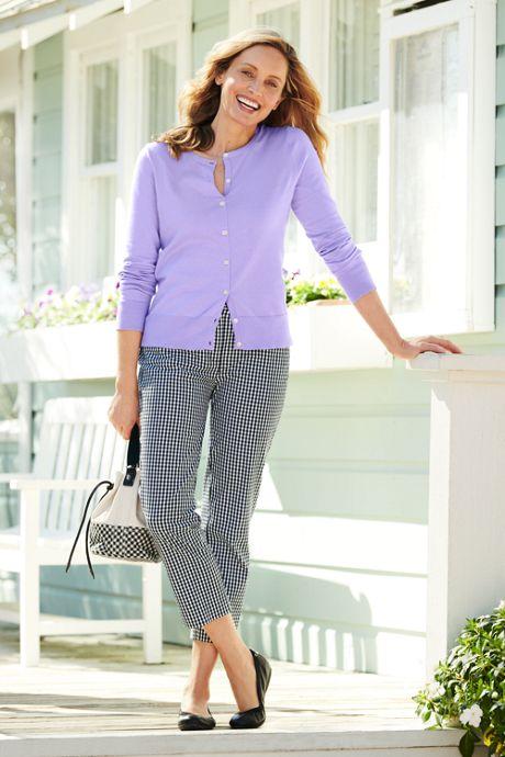 Women's Petite Supima Cotton Long Sleeve Cardigan Sweater