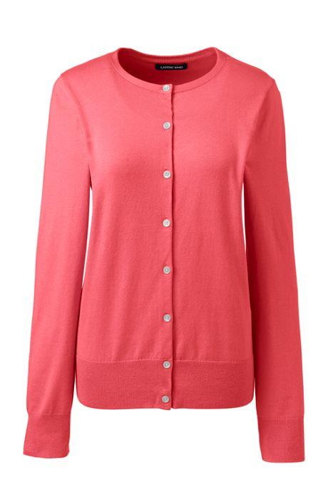 Women's Plus Size Supima Cotton Long Sleeve Cardigan Sweater