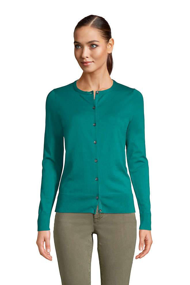Women's Petite Supima Cotton Cardigan Sweater, Front