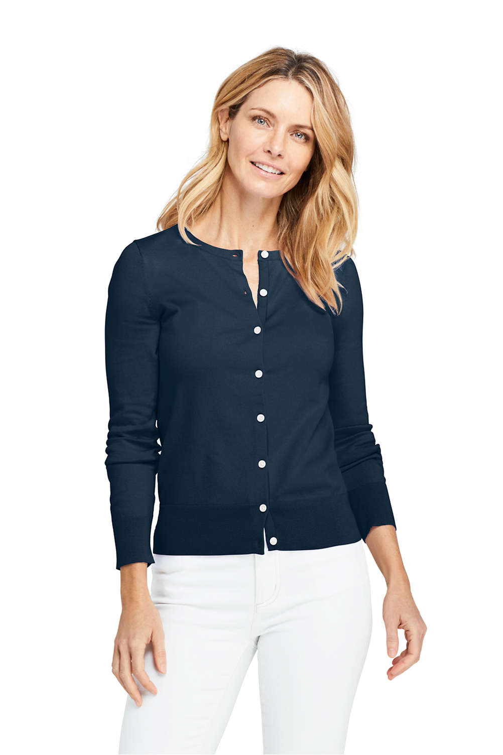 c7a637459afe Women's Supima Cotton Long Sleeve Cardigan Sweater from Lands' End
