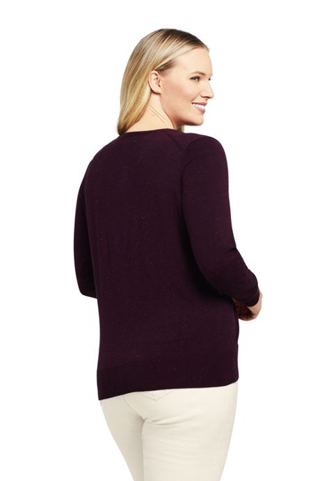 Women's Plus Size Supima Cotton Long Sleeve Cardigan Sweater