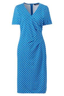 Gepunktetes Ponté-Kleid in Wickel-Optik für Damen