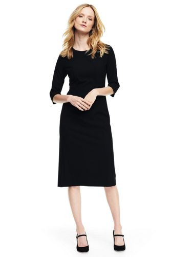 62%OFF<ランズエンド>レディス・美型シルエット・イヤーラウンド・身長別ドレス/レギュラー/無地/七分袖/M/ブラック画像