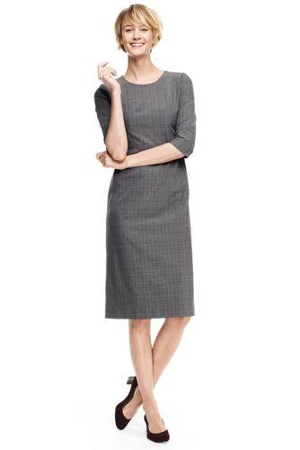 50%OFF<ランズエンド>レディス・美型シルエット・イヤーラウンド・身長別ドレス/レギュラー/柄/七分袖/M/グレー画像