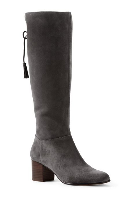 Women's Tall Suede Block Heel Boots