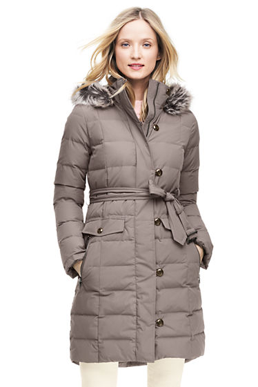 Women's Belted Long Down Coat from Lands' End