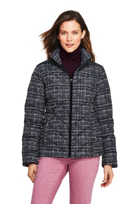 Women's Petite Print Down Puffer Jacket
