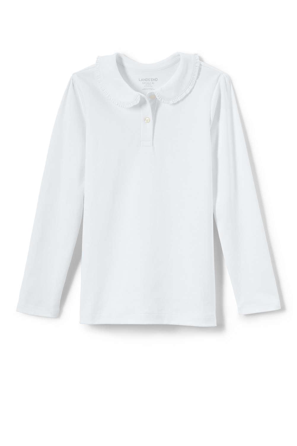 2c7f809d67c93b School Uniform Girls Long Sleeve Ruffle Collar Knit Peter Pan Shirt from  Lands  End