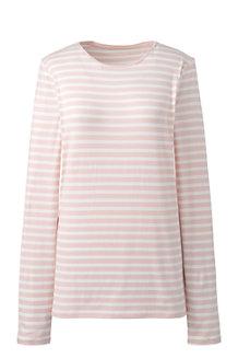 Women's Cotton/Modal Striped Crew Neck Tee