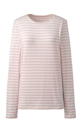 Women's Cotton/Modal Striped Crew Neck T-shirt
