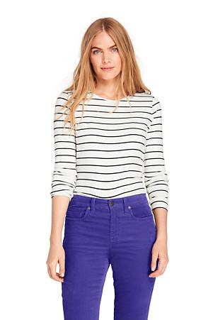 2b9eec67c5c Women's Cotton/Modal Striped Crew Neck T-shirt | Lands' End