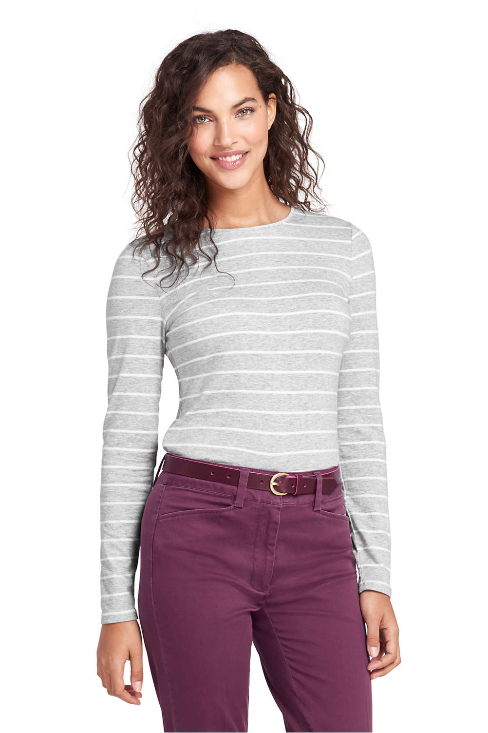 b27cacd4da99 Women's Lightweight Fitted Long Sleeve T-Shirt - Shaped Layering Crewneck  Stripe from Lands' End