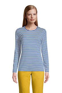 Le T-Shirt Rayé Stretch en Coton Modal à Manches Longues, Femme