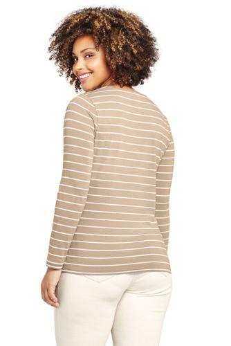 Women's Plus Size Lightweight Fitted Long Sleeve Crewneck T-Shirt