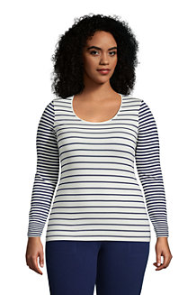 Women's Long Sleeve Cotton-modal Striped Crew Neck T-shirt