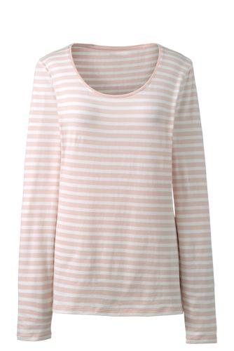 Women's Cotton/Modal Striped Scoop Neck T-shirt