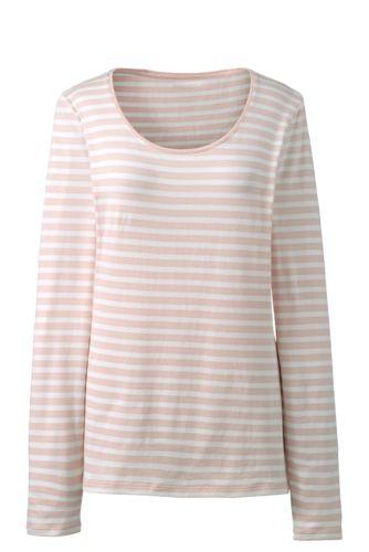 Women's Cotton/Modal Striped Scoop Neck T-shirt