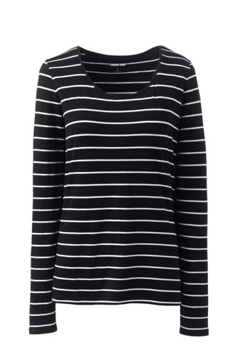 Women's Long Sleeve Cotton-modal Striped Scoop Neck T-shirt