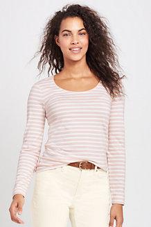 Shirt aus Baumwoll/Modalmix, Ballettausschnitt Gestreift